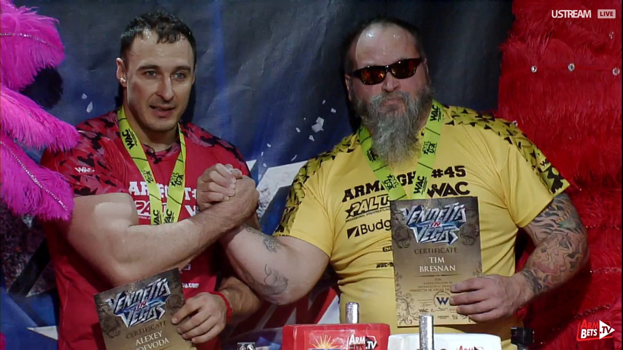 Alexey Voevoda vs. Tim Bresnan, Armfight 45 Vendetta in Vegas, 26 February 2016 │ Image Source: Armwrestling / Armwrestling / armsportu home