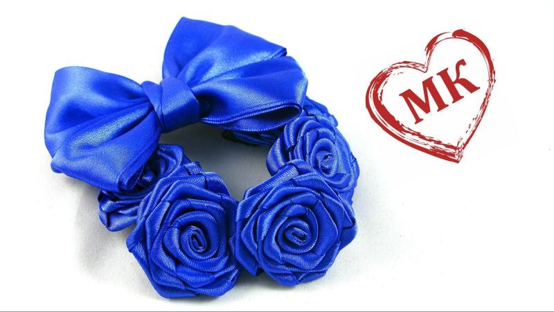 Крученые розы из лент мастер-класс. Цветы из атласных лент на пучок.