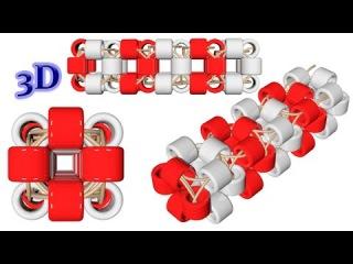 Beaded Square harness. 3D Beading Tutorial/Квадратный жгут из бисера