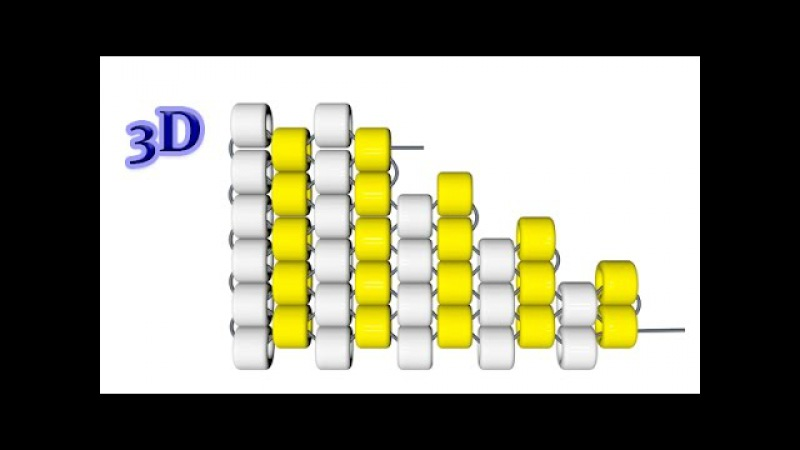 Мозаичное плетение. Убавление рядов по краю. 3D урок