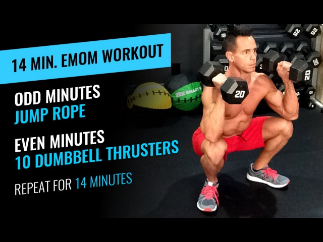 14 Minute EMOM Workout - Jump Rope Thrusters