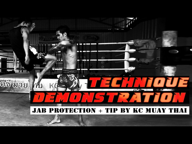 Jab protection and teep combination Muay Thai techniques Demonstration by KC Muay Thai Chiang Mai