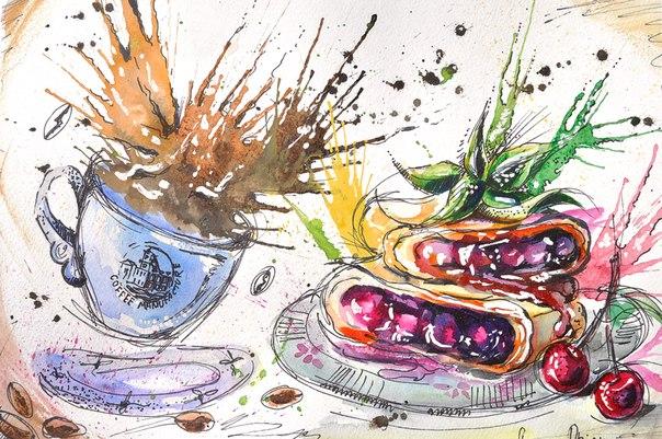 Акварельные рисунки еды EPSvLrRDMt4