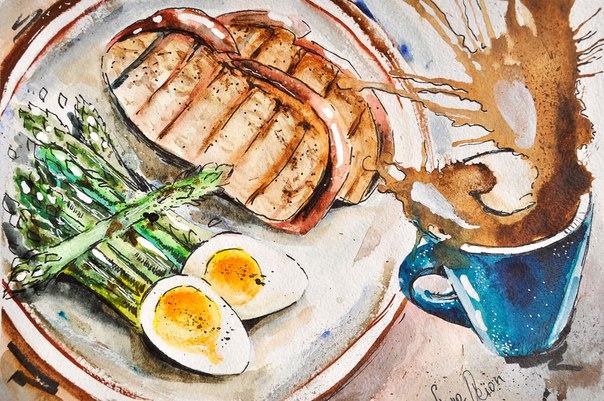 Акварельные рисунки еды PnwF3P0uu70