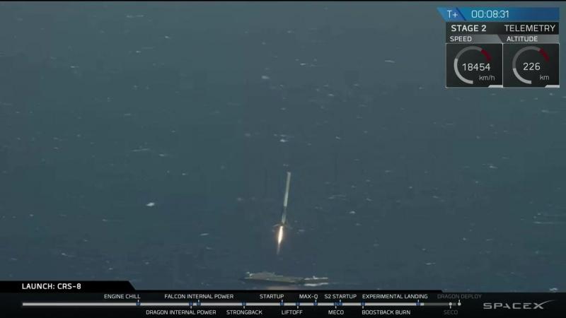 Момент історичного приземлення першої ступені Falcon 9 на баржу 08.04.16