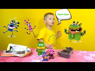 Куми Куми. Джуга, Юси, Шумадан  Распаковка подарка, игрушки, сладости  Unboxing toys Kumi-kumi