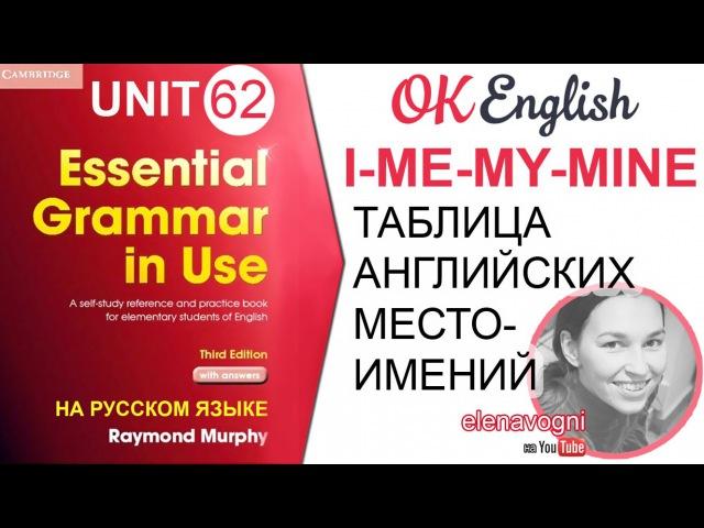Unit 62 Таблица английских местоимений. Уроки английского для начинающих. OK English