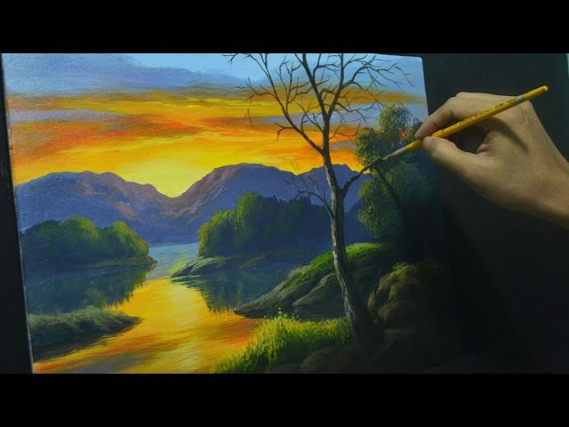 Acrylic Landscape Painting Lesson - How to Paint Sunset River and Reflections by JMLisondra