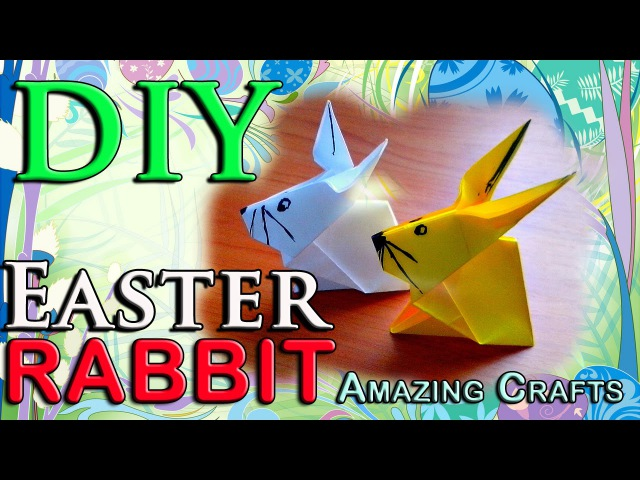 DIY Origami Easter Rabbit From Paper. How To Fold Easy Bunny For Children. Craft Tutorial For Kids