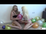 Looner girls Brook and Danielle playing with balloons