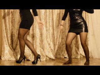 CBT Financial Money Dominatrix Leather Lookbook. Black Stocking, Skirt, High Heels & Barefeet Dance