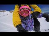 Экстремальное катание на сноуборде с ребёнком.