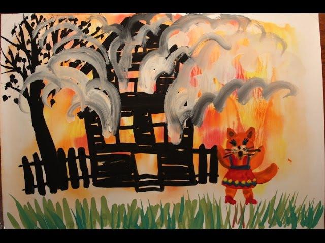 РисовандиЯ Развивающее видео для малышей 4-6 лет. Теплые цвета. Пожар в кошкином доме