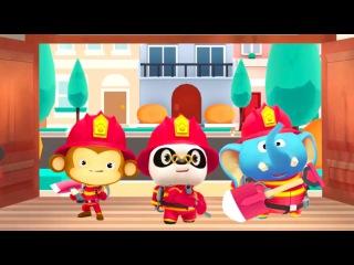 Доктор Панда мультик. Доктор Панда, Слоник и Обезьянка - пожарная команда. Мультики про пожарных.