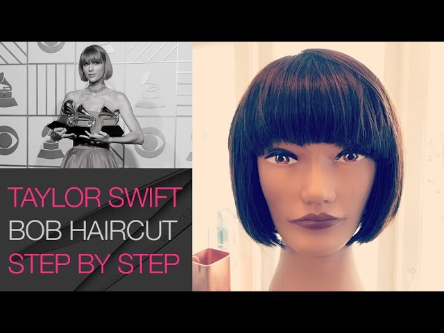 How To cut the Taylor Swift Short Bob Haircut Step by Step   2016 Grammy Awards