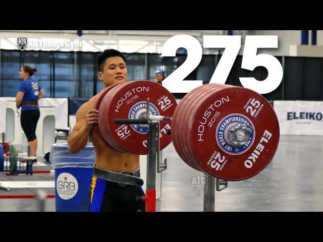 Lu Xiaojun Squatting up to 275kg Warm Up 2015 World Weightlifting Championships Training Hall