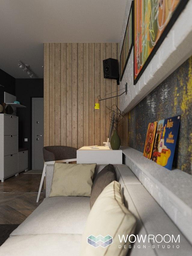 Концепт и 7 вариантов организации квадратной студии 38 м.