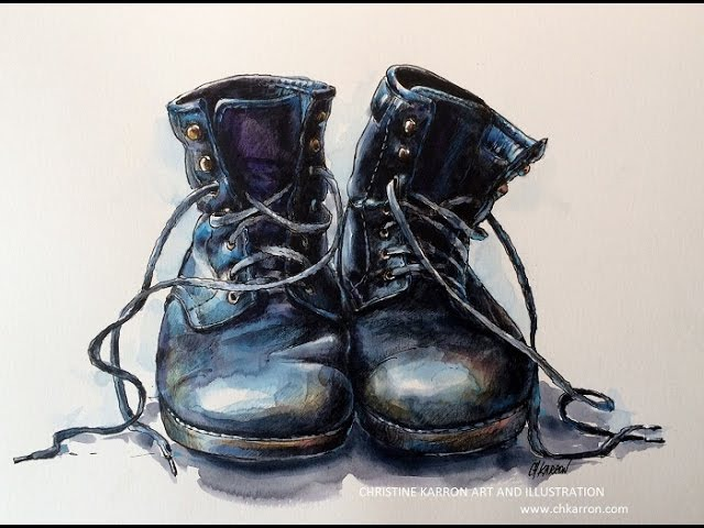 Pen Line Watercolor Colored Pencils SPEEDPAINT Boots Illustration by Ch.Karron