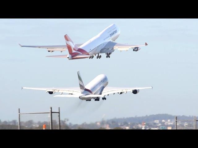 Brisbane Airport: Emirates A380-800 vs. Qantas 747-400ER