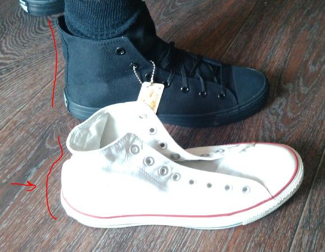 2b3b544a Белые, настоящие — более тяжелые, ткань более плотная, резина более  толстая, шнурки крепче.