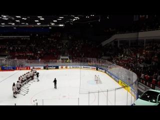 Дворец спорта Юбилейный, чемпионат мира по хоккею Германия-Венгрия 4:2... Венгерские болельщики поют гимн своей страны....