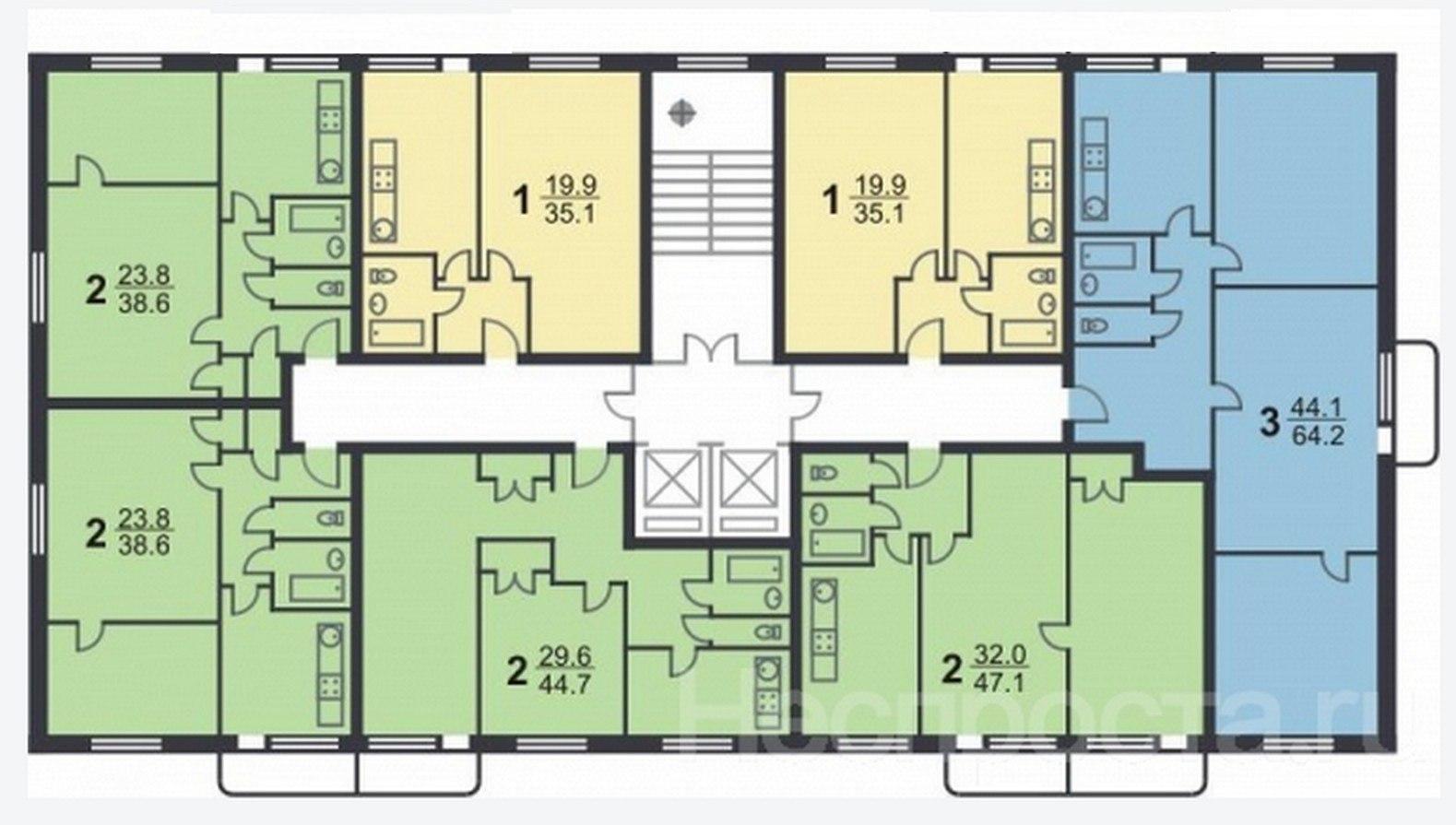 Ванная комната и санузел в типовом доме серии ii-18/12 - ван.