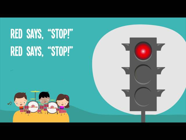 Red Says STOP | Kids Song |Traffic Safety | Nursery Rhymes | Lyrics | Lights |