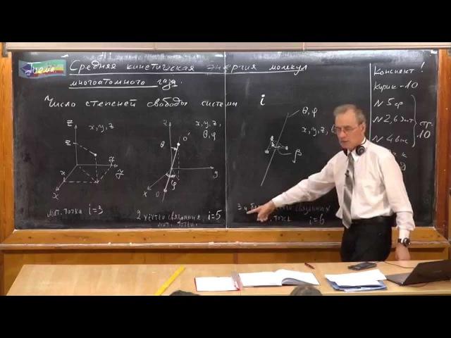 Средняя кинетическая энергия молекул многоатомного газа