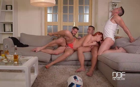 HandsOnHardcore – Redhead Banged By Three Soccer Fans – Eva Berger