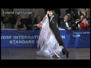 How to dance Right Lunge in Slow Waltz at corner |Rosario Guorra and Grazia Benincasa