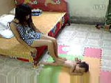 mom trample play feet on son