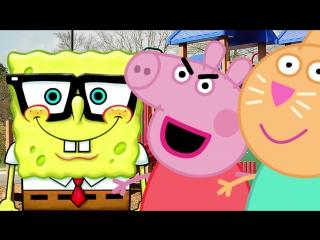 ✔ свинка пеппа. спанч боб предложил встречаться пеппе, барби помешала. мультик для детей. peppa pig.