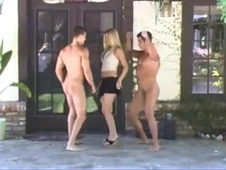 CFNM - Beautiful woman and two lucky naked guys dancing