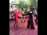 Rose Bertram and Chanel Iman dancing Salsa