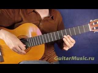 Под небом голубым — как играть на одной струне — Простые мелодии для гитары
