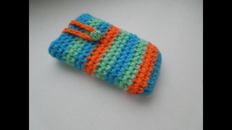 Как связать чехол для телефона крючком. How to crochet phone case.