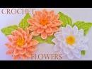Como tejer flores fácil y rápido en una sola tira con hojas - How to make knitting crochet flowers