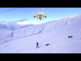 Extreme DJI Drone Pilot Training: Snowboarding With 2 Powder Hungry Dogs in Chamonix - Phantom 3