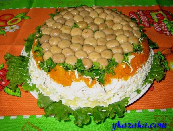салат полянка с шампиньонами и ветчиной рецепт