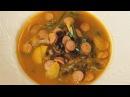 Суп фасолевый по чешски с копчеными колбасками Рецепт от шеф повара