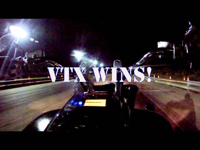 VTX1800 vs Yamaha R6 at the Strip with Times