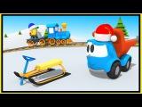 Мультики про машинки на английском языке - Строим зимние санки с грузовичком Левой.