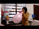 pink  balloon blow to pop
