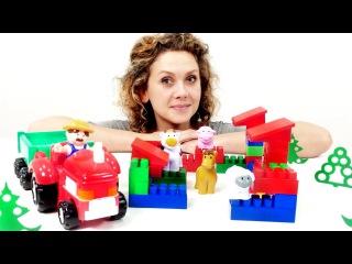 Видео для детей: Животные на ферме. Игры про животных. Конструктор - Строим домики.