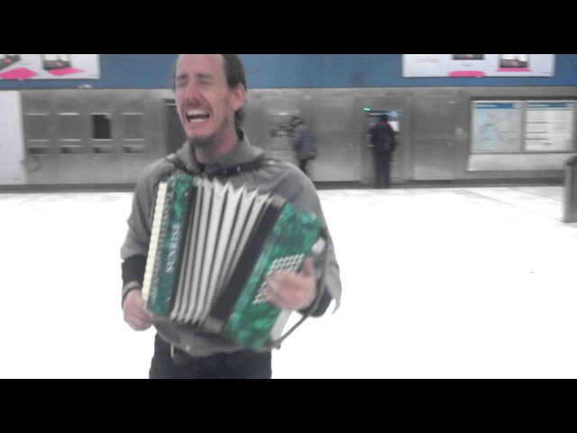 Accordion beatboxing on heelys in Sf subway