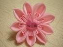 Объемные Цветы Канзаши из Лент 2 5 см Резинка для Волос Flowers Tutorial KANZASHI DIY