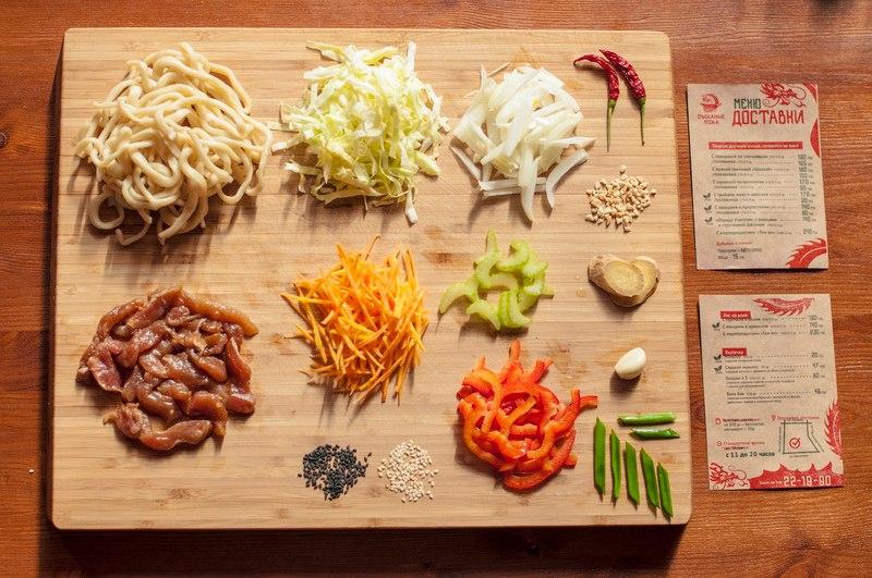 """Лапша с пряной свининой """"Шанхай"""". Состав: нежирная свинина, предварительно маринованная в специях, овощи: лук, морковь, белокочанная капуста, болгарский перец, сельдерей. С кисло-сладким соусом и кунжутом."""
