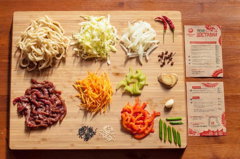 """Лапша с говядиной по-сычуански. В составе: говядина, овощи: лук, морковь, капуста и болгарский перец, сельдерей. В блюде есть """"секретный ингредиент"""" - сычуанский перец."""
