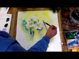 How to paint Hellebore Flowers Part 1, very loose wet into wet watercolour by Sheila Gill