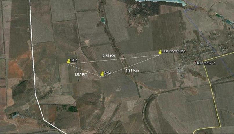 Предполагаемое место падения и место расположения ЗРК «Стрела» под Горловкой / Фото: ОБСЕ